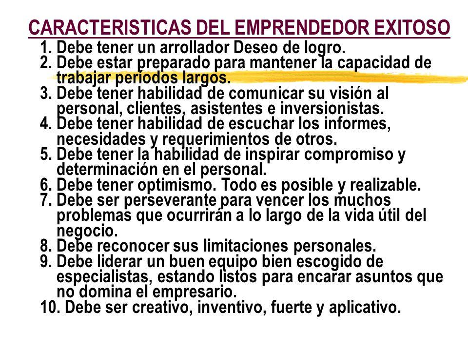 CARACTERISTICAS DEL EMPRENDEDOR EXITOSO