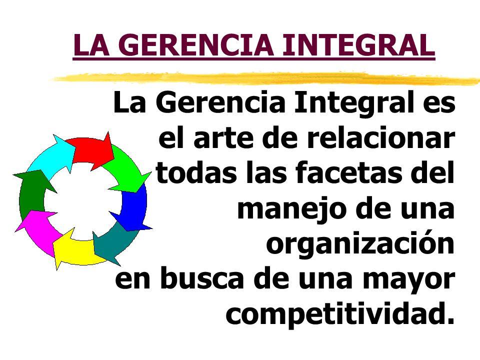 LA GERENCIA INTEGRAL La Gerencia Integral es el arte de relacionar. todas las facetas del manejo de una organización.