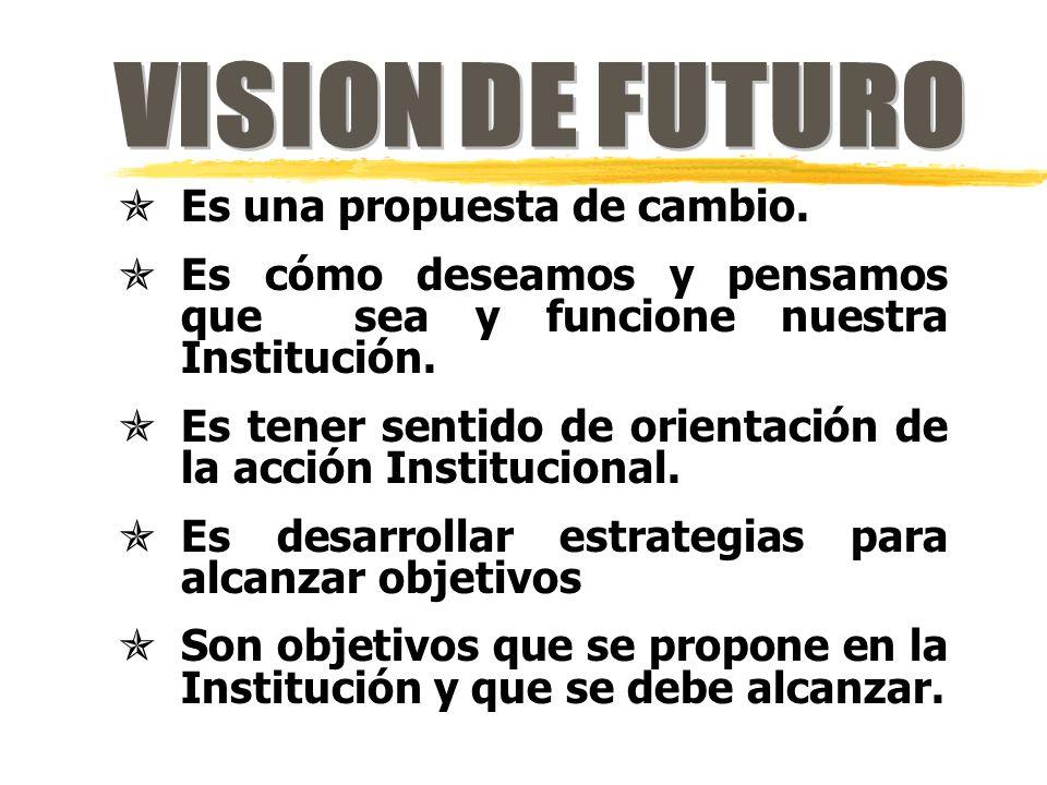 VISION DE FUTURO Es una propuesta de cambio.