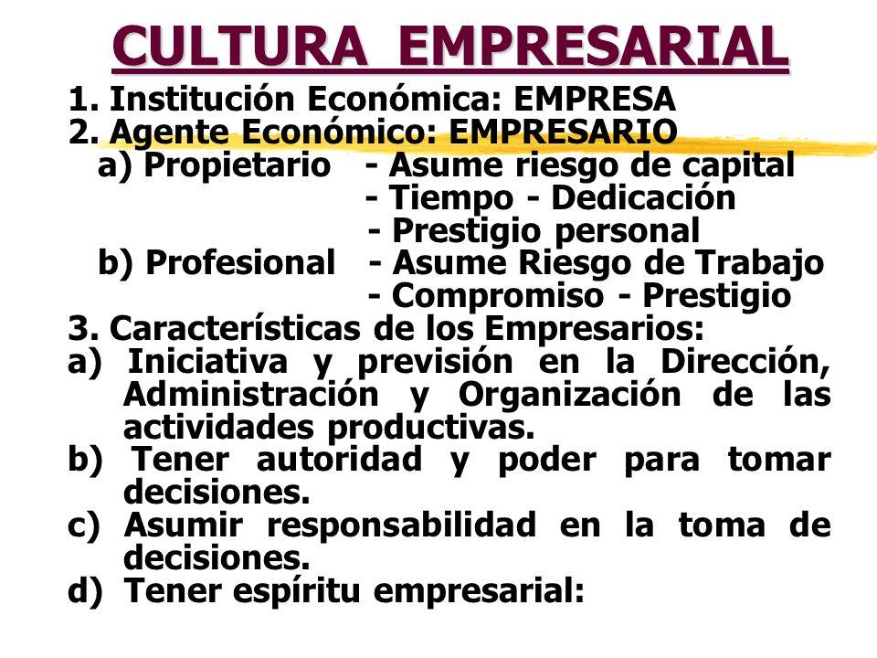 CULTURA EMPRESARIAL 1. Institución Económica: EMPRESA
