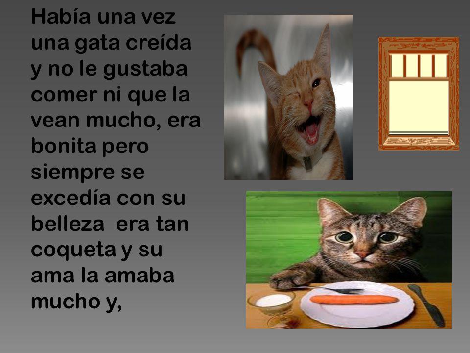 Había una vez una gata creída y no le gustaba comer ni que la vean mucho, era bonita pero siempre se excedía con su belleza era tan coqueta y su ama la amaba mucho y,