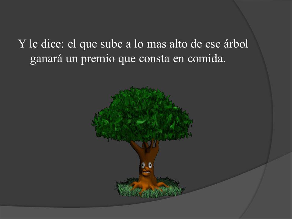 Y le dice: el que sube a lo mas alto de ese árbol ganará un premio que consta en comida.