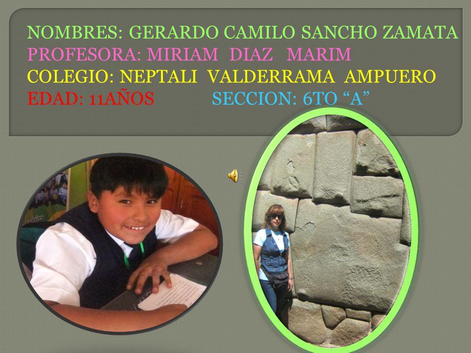 NOMBRES: GERARDO CAMILO SANCHO ZAMATA