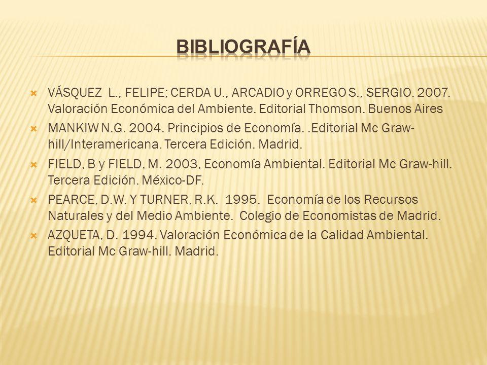 Bibliografía VÁSQUEZ L., FELIPE; CERDA U., ARCADIO y ORREGO S., SERGIO. 2007. Valoración Económica del Ambiente. Editorial Thomson. Buenos Aires.