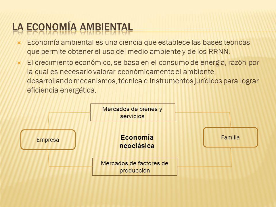 la economía ambiental Economía ambiental es una ciencia que establece las bases teóricas que permite obtener el uso del medio ambiente y de los RRNN.