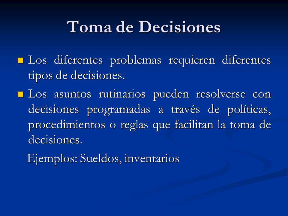 Toma de Decisiones Los diferentes problemas requieren diferentes tipos de decisiones.