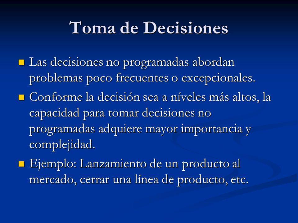 Toma de Decisiones Las decisiones no programadas abordan problemas poco frecuentes o excepcionales.