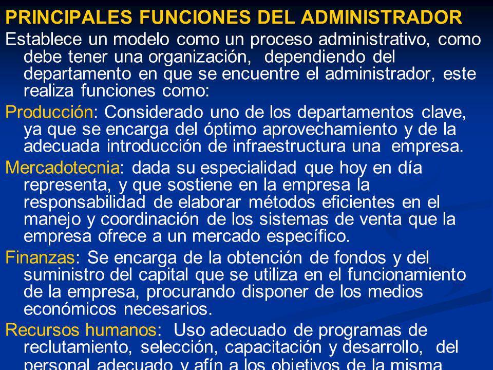 PRINCIPALES FUNCIONES DEL ADMINISTRADOR