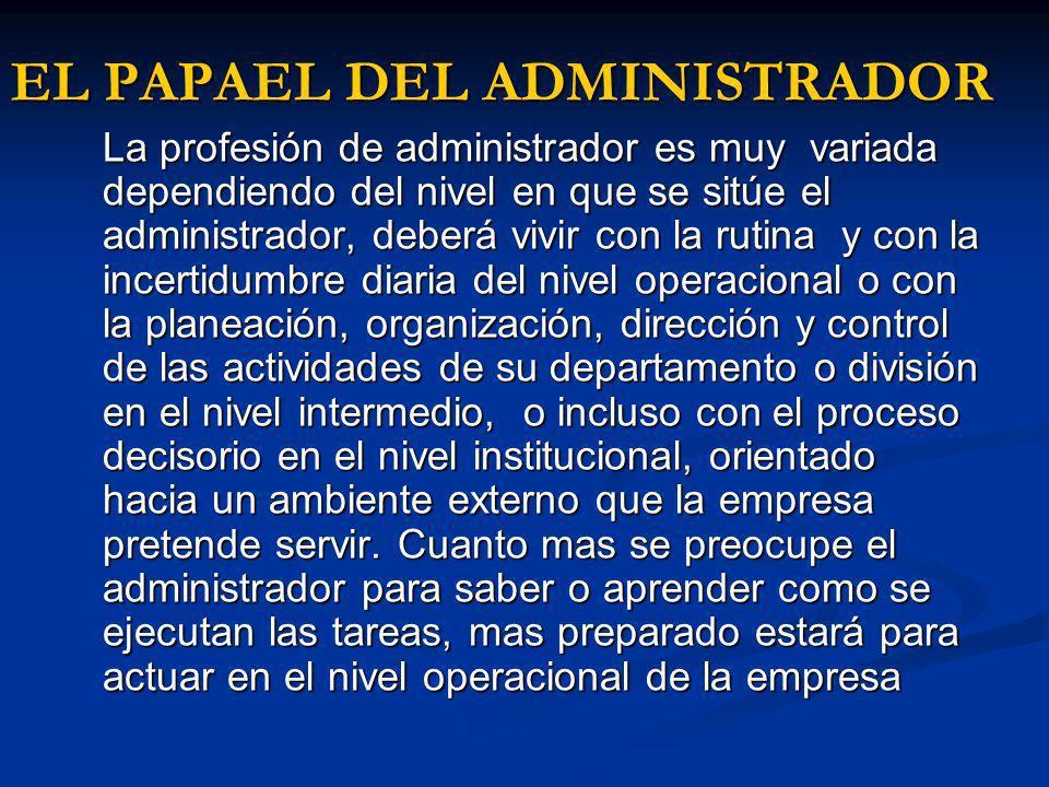 EL PAPAEL DEL ADMINISTRADOR