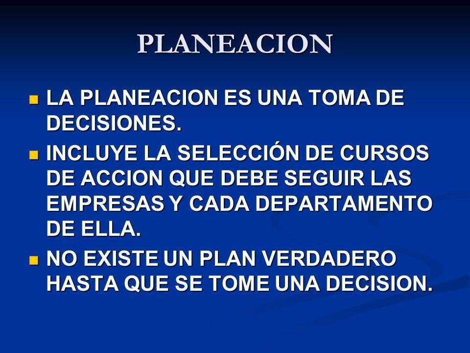 PLANEACION LA PLANEACION ES UNA TOMA DE DECISIONES.