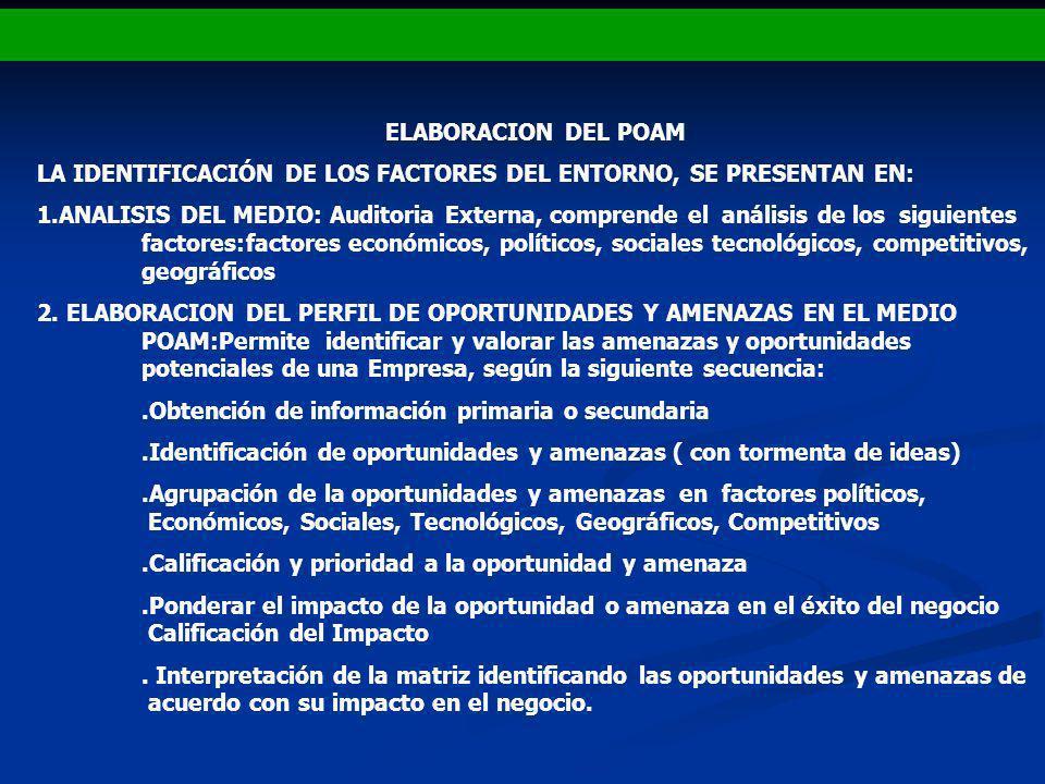 ELABORACION DEL POAM LA IDENTIFICACIÓN DE LOS FACTORES DEL ENTORNO, SE PRESENTAN EN: