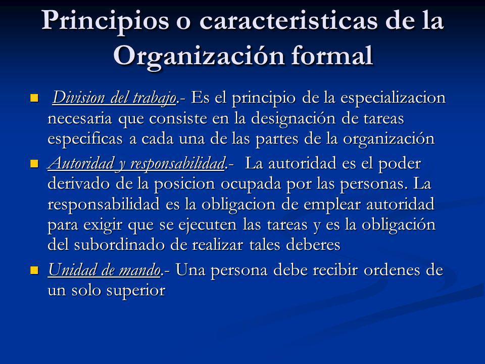 Principios o caracteristicas de la Organización formal