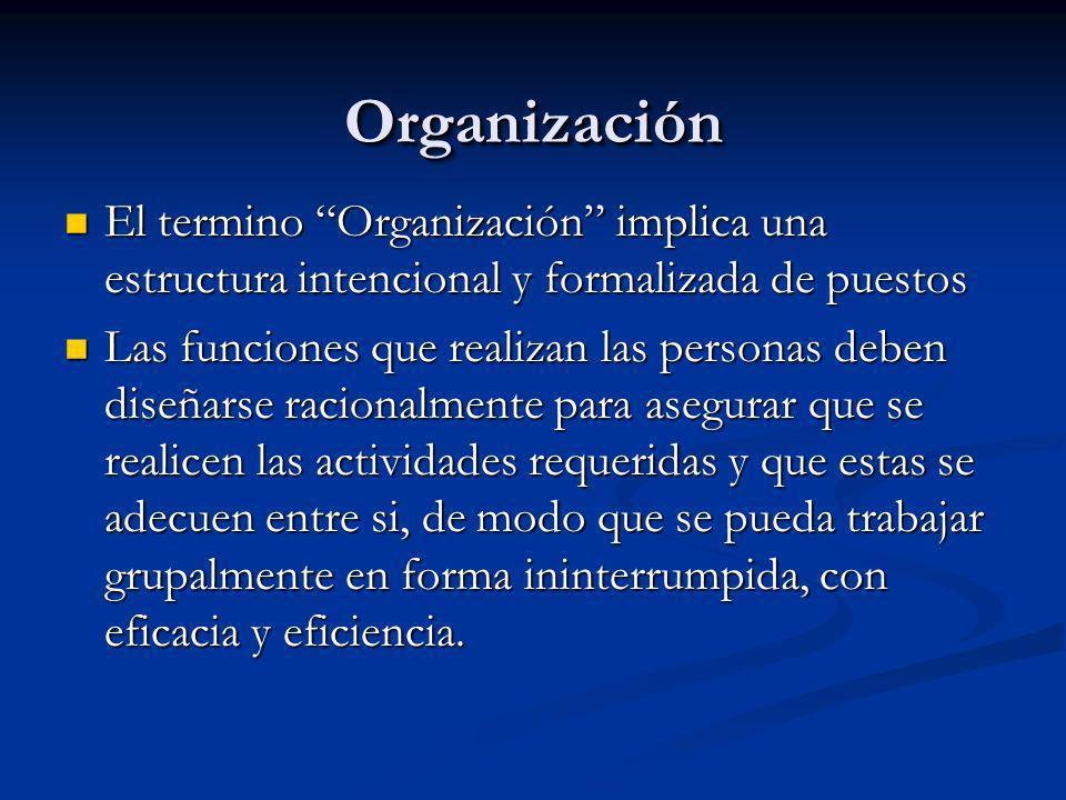 Organización El termino Organización implica una estructura intencional y formalizada de puestos.