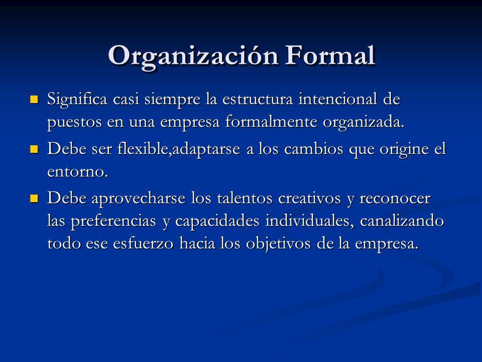Organización Formal Significa casi siempre la estructura intencional de puestos en una empresa formalmente organizada.