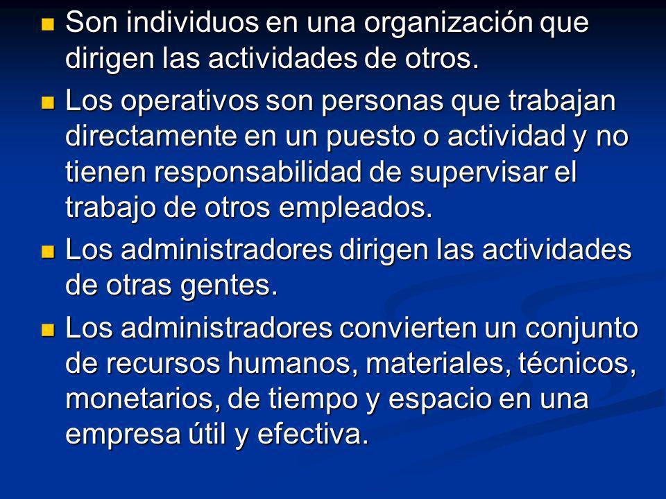 Son individuos en una organización que dirigen las actividades de otros.