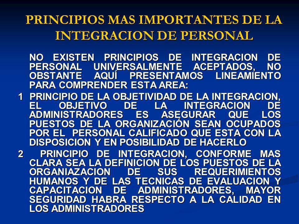 PRINCIPIOS MAS IMPORTANTES DE LA INTEGRACION DE PERSONAL
