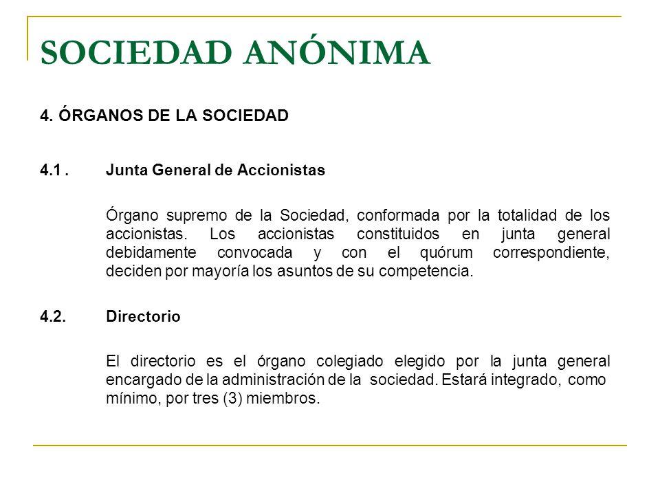 SOCIEDAD ANÓNIMA 4. ÓRGANOS DE LA SOCIEDAD