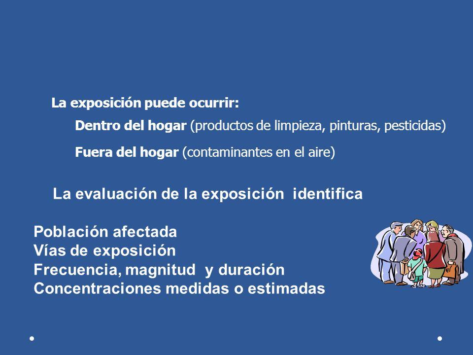 La evaluación de la exposición identifica Población afectada