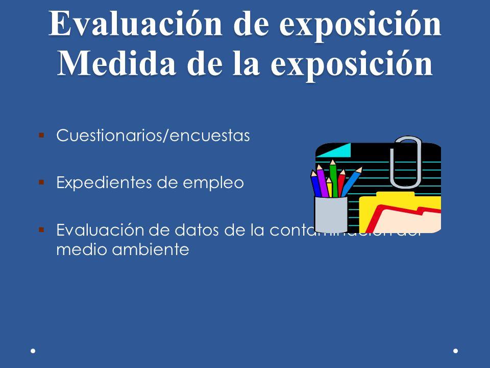 Evaluación de exposición Medida de la exposición