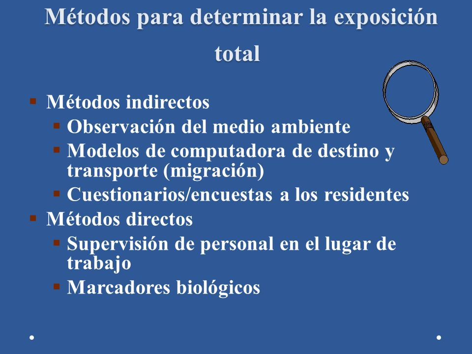 Métodos para determinar la exposición total