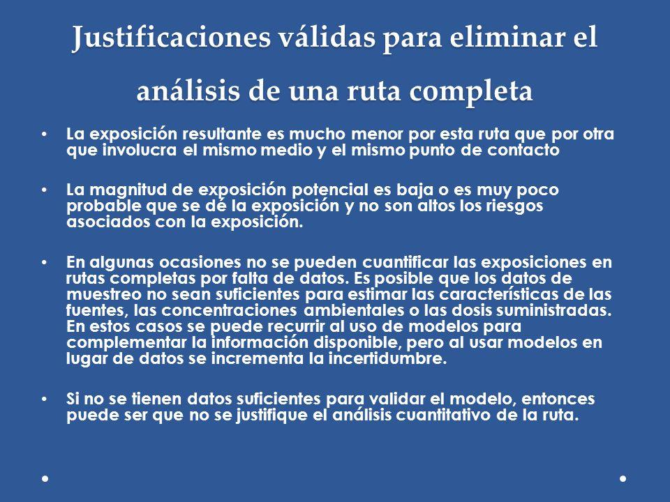 Justificaciones válidas para eliminar el análisis de una ruta completa