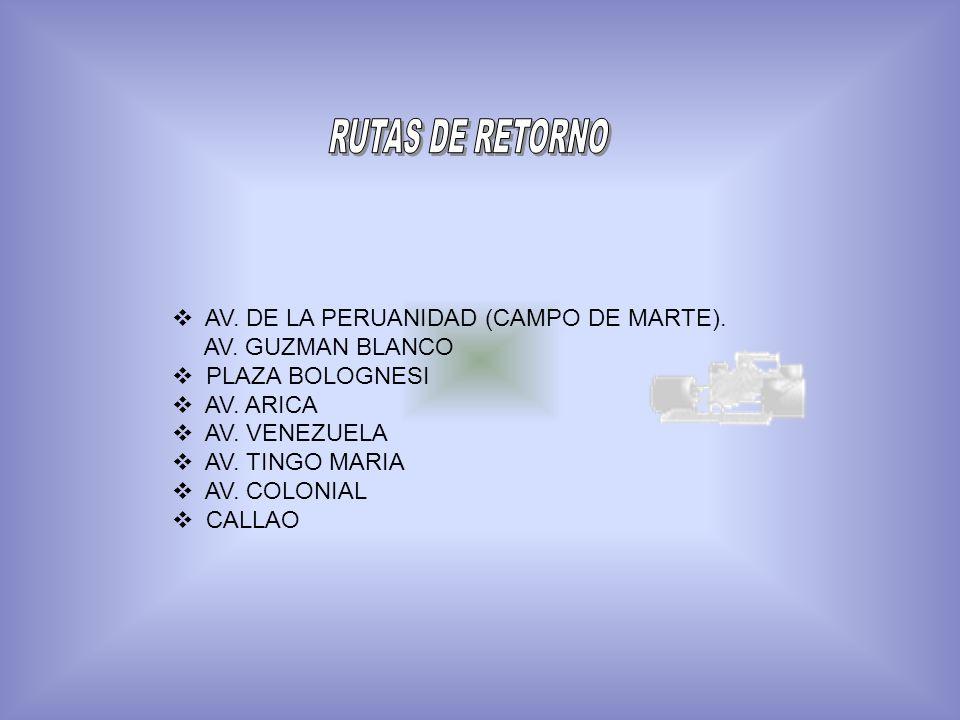 RUTAS DE RETORNO AV. DE LA PERUANIDAD (CAMPO DE MARTE).