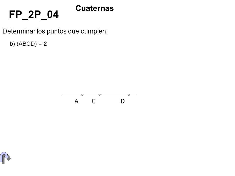 FP_2P_04 Cuaternas Determinar los puntos que cumplen: b) (ABCD) = 2 A