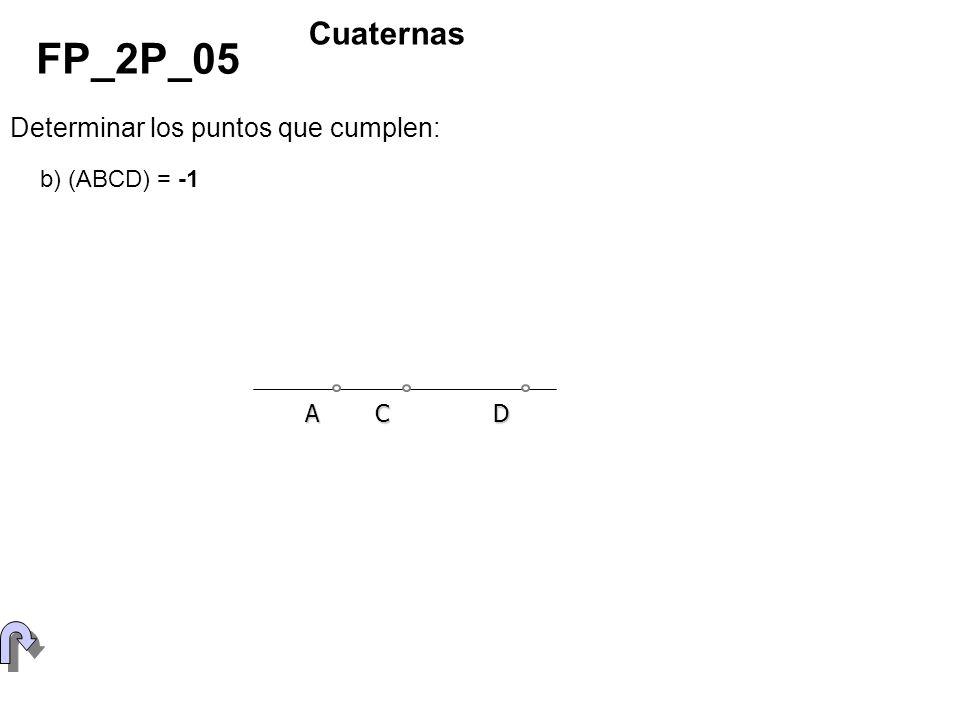 FP_2P_05 Cuaternas Determinar los puntos que cumplen: b) (ABCD) = -1 A