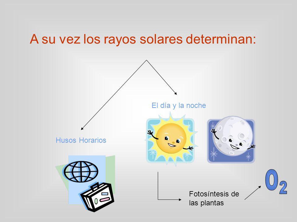O 2 A su vez los rayos solares determinan: El día y la noche