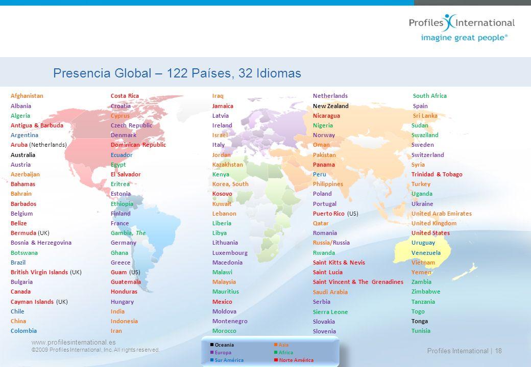 Presencia Global – 122 Países, 32 Idiomas