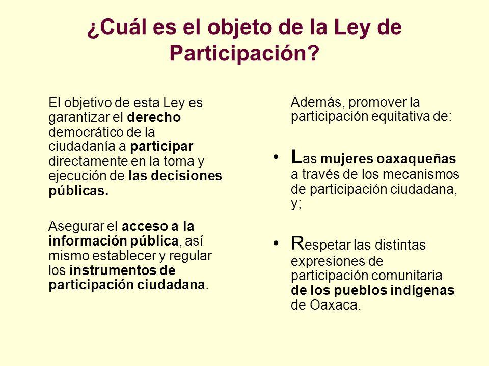 ¿Cuál es el objeto de la Ley de Participación
