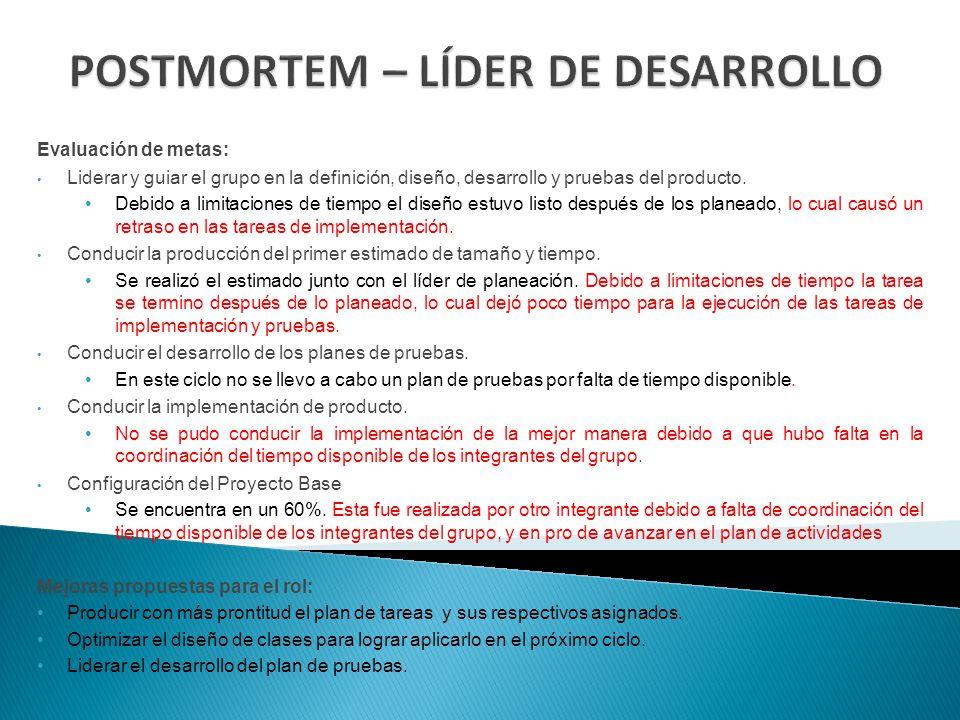 POSTMORTEM – LÍDER DE DESARROLLO