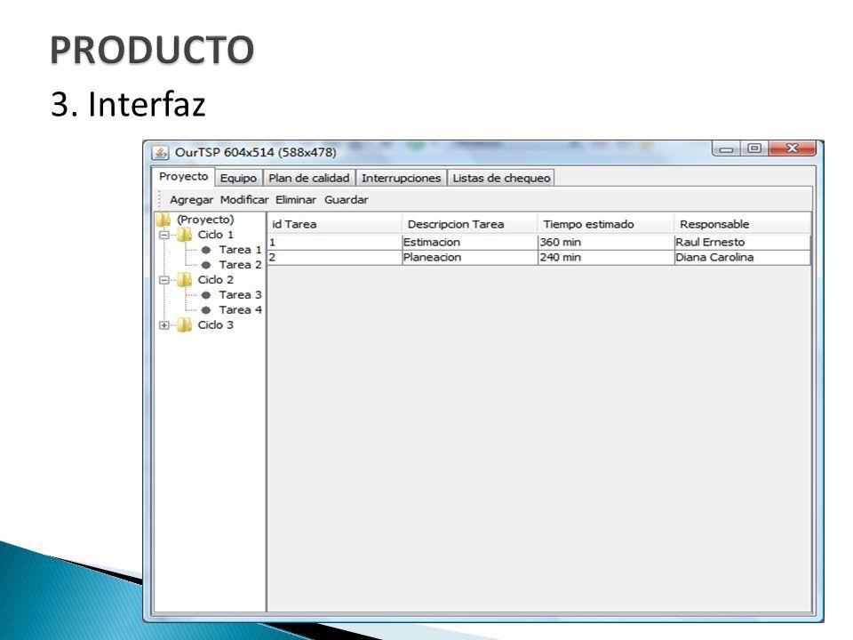 PRODUCTO 3. Interfaz