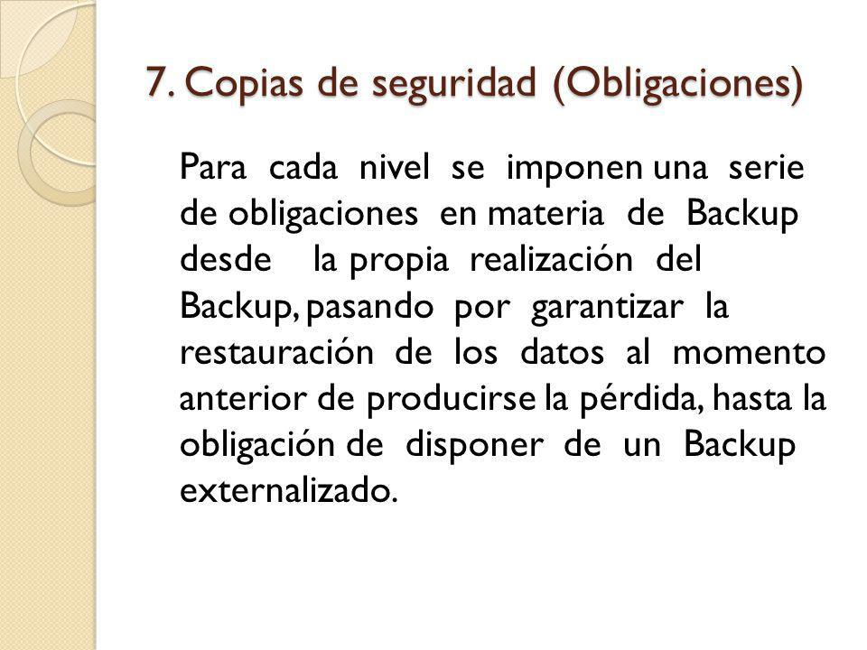 7. Copias de seguridad (Obligaciones)
