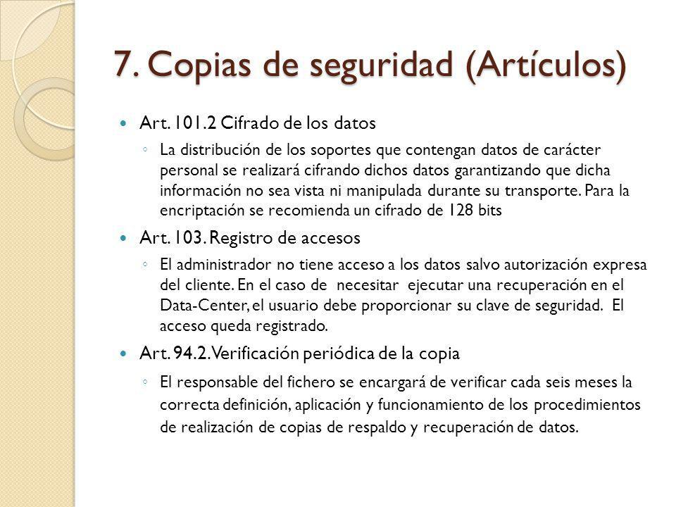 7. Copias de seguridad (Artículos)