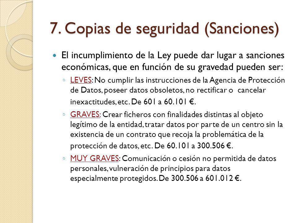 7. Copias de seguridad (Sanciones)