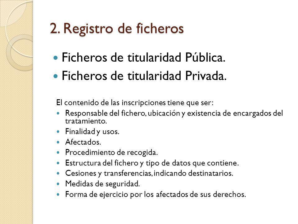 2. Registro de ficheros Ficheros de titularidad Pública.