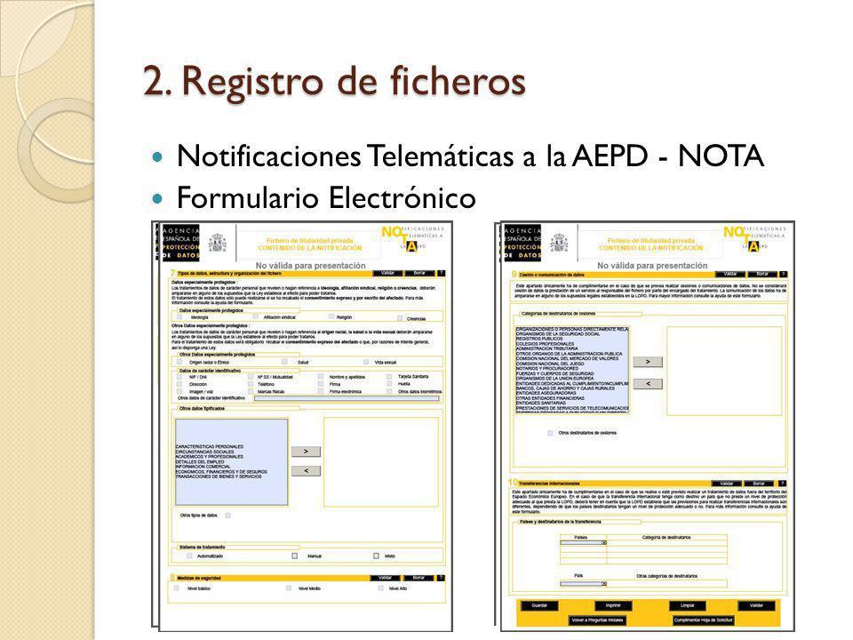 2. Registro de ficheros Notificaciones Telemáticas a la AEPD - NOTA