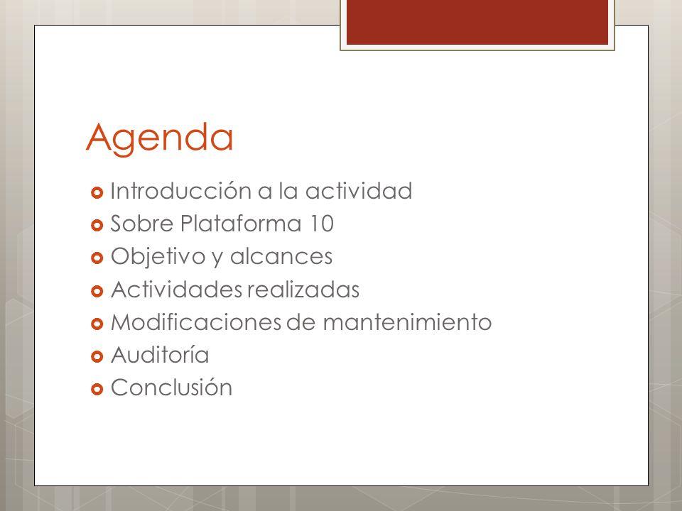Agenda Introducción a la actividad Sobre Plataforma 10