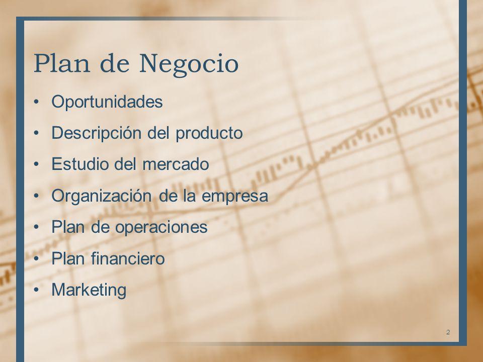 Plan de Negocio Oportunidades Descripción del producto