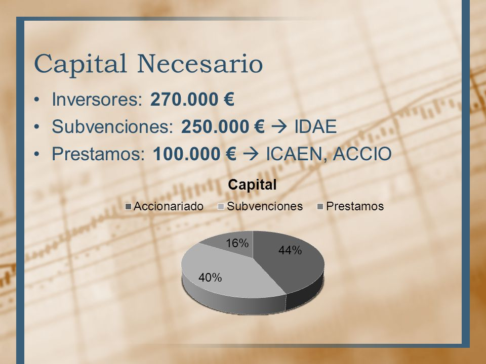 Capital Necesario Inversores: 270.000 € Subvenciones: 250.000 €  IDAE