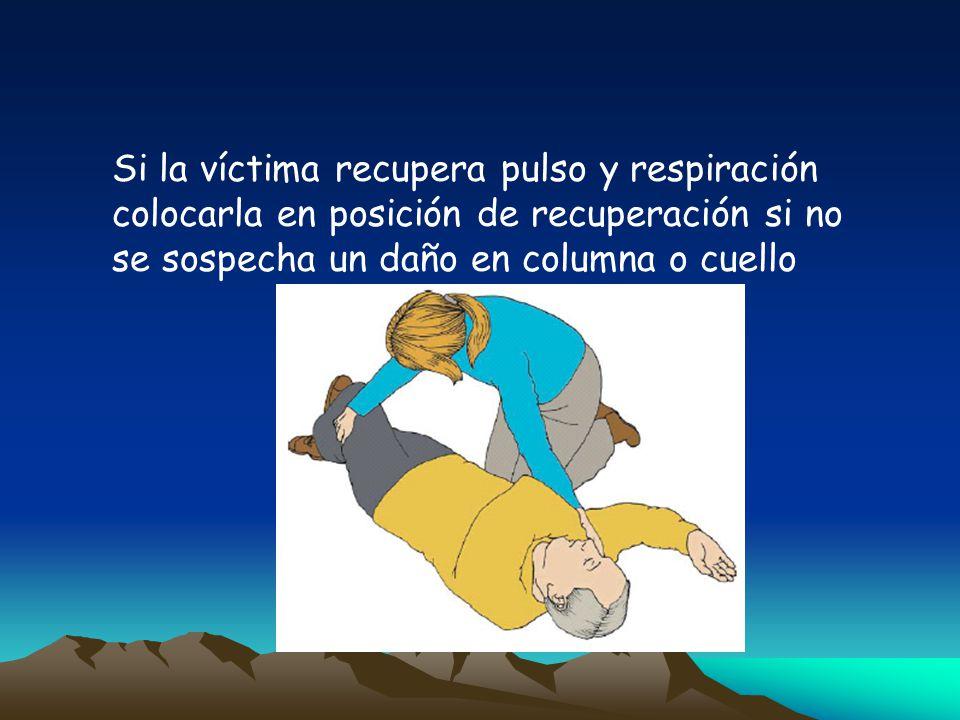 Si la víctima recupera pulso y respiración colocarla en posición de recuperación si no se sospecha un daño en columna o cuello