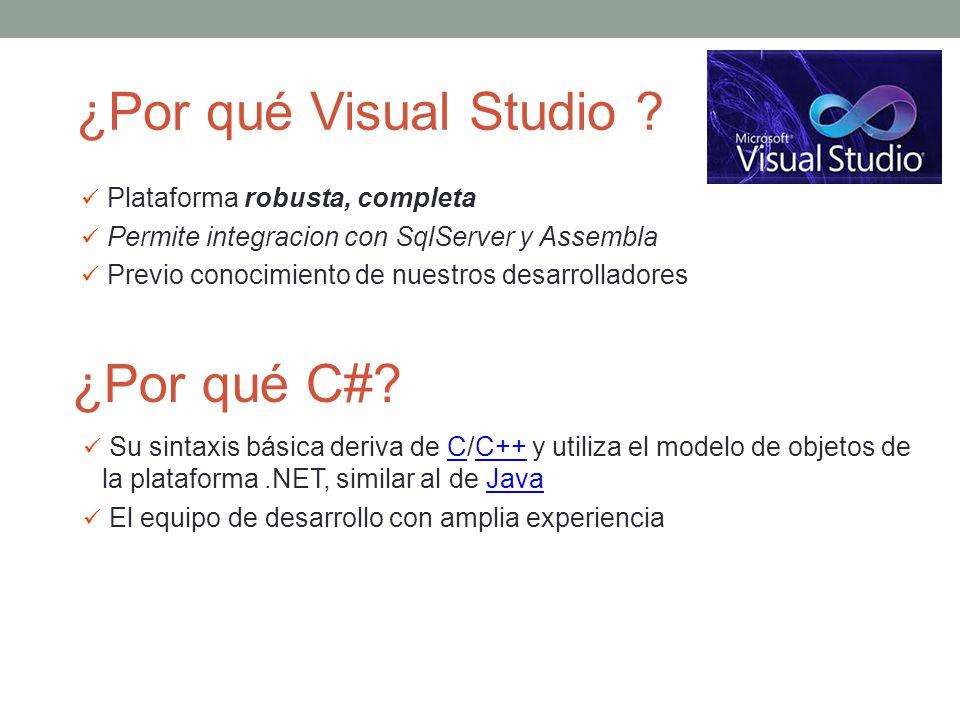 ¿Por qué Visual Studio ¿Por qué C# Plataforma robusta, completa