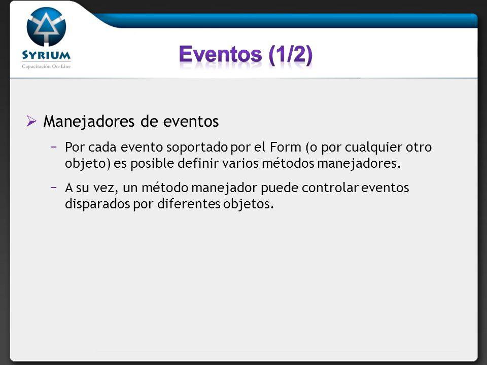 Eventos (1/2) Manejadores de eventos