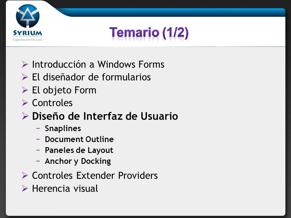 Temario (1/2) Diseño de Interfaz de Usuario