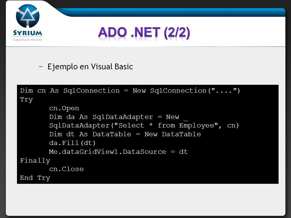 ADO .NET (2/2) Ejemplo en Visual Basic