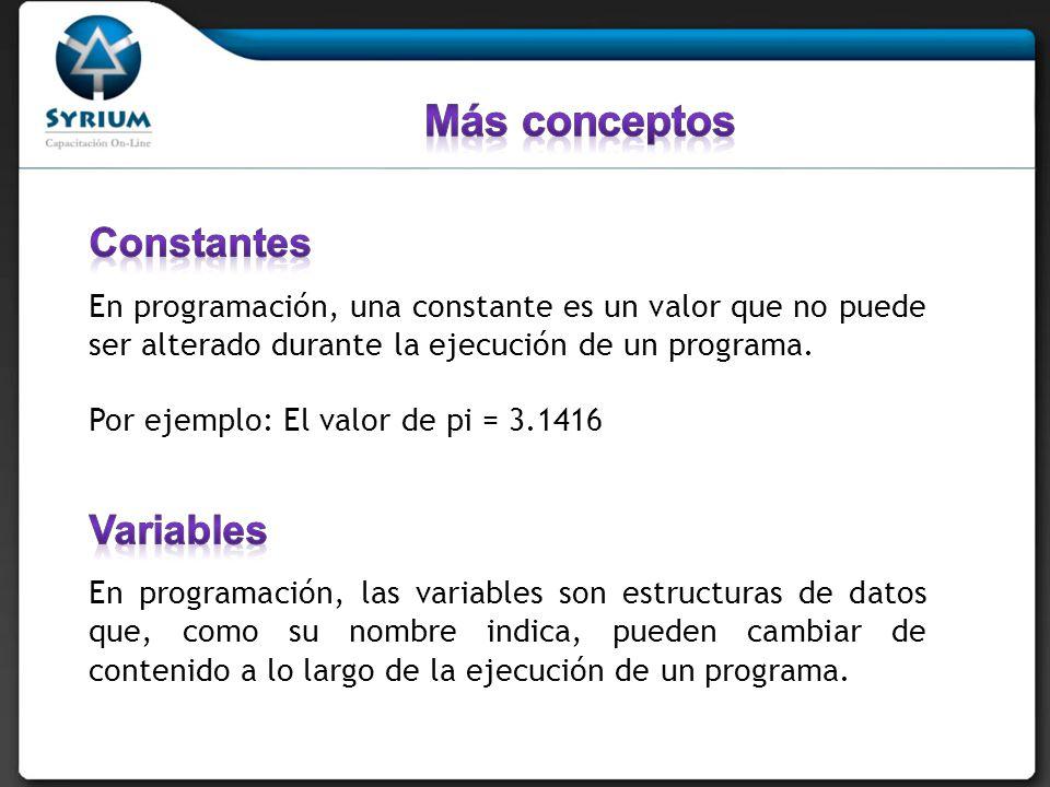 Más conceptos Constantes Variables