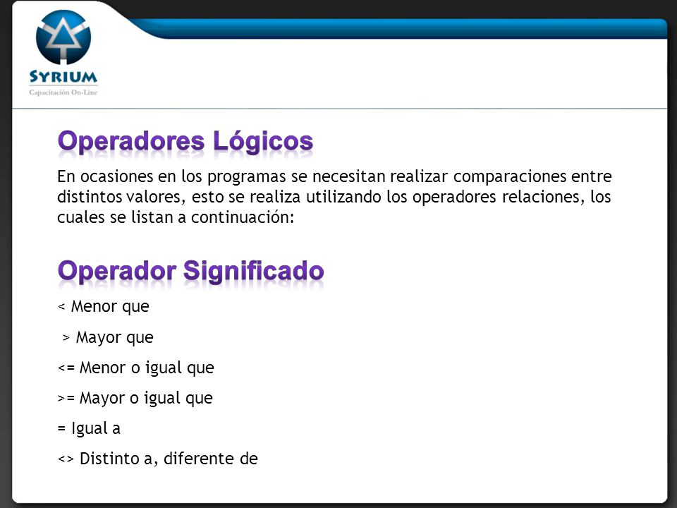 Operadores Lógicos Operador Significado