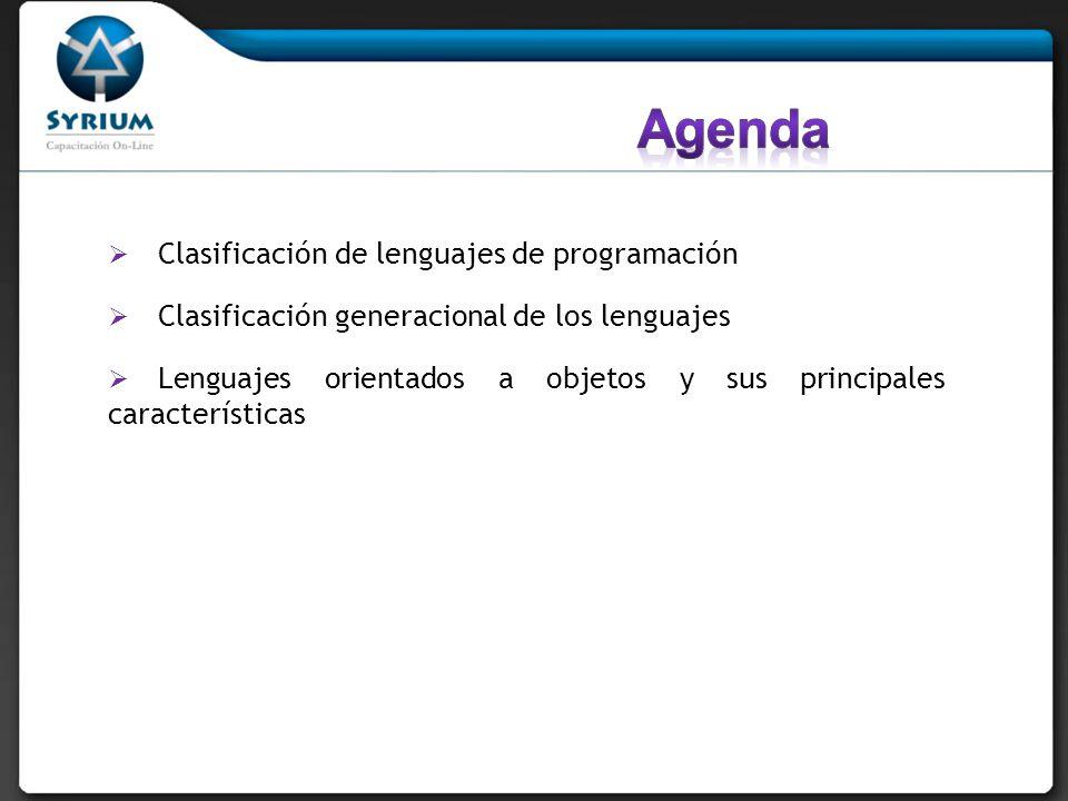 Agenda Clasificación de lenguajes de programación