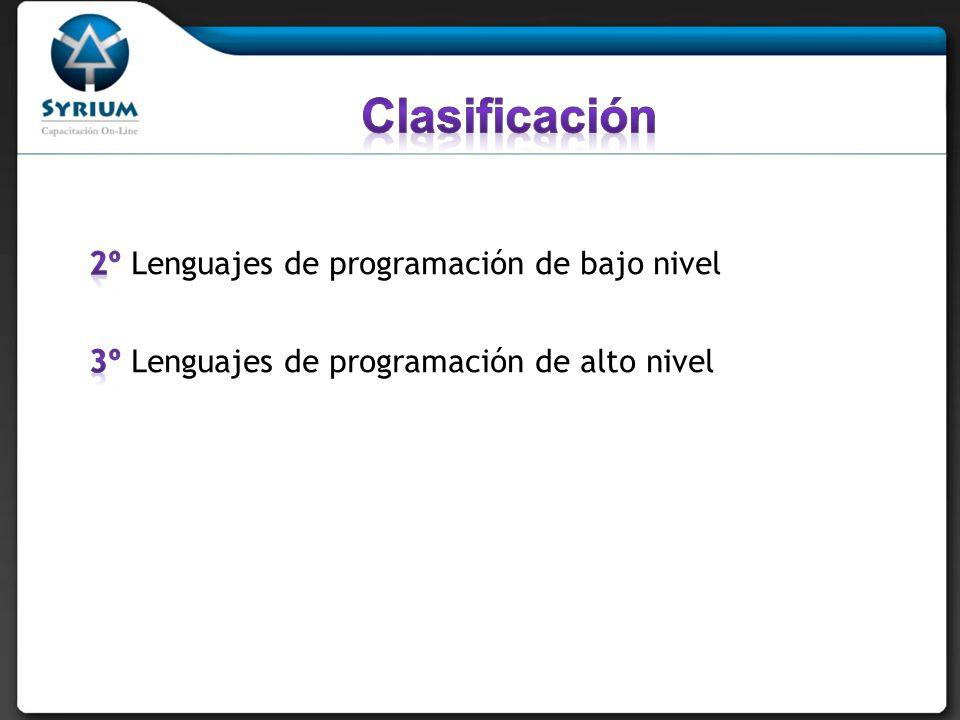 Clasificación 2º Lenguajes de programación de bajo nivel